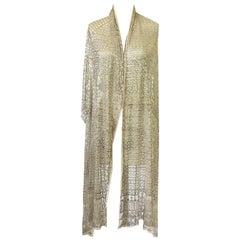 1920s Assuit Diamond & Tassel Design Hammered Metal & Net Scarf