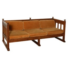 1920s Authentic Vintage Solid Oak Wood Frame 3 Seater Sofa