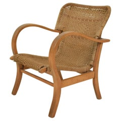 1920s Bauhaus Beech and Woven Rope / Cane Armchairs by Erich Dieckmann