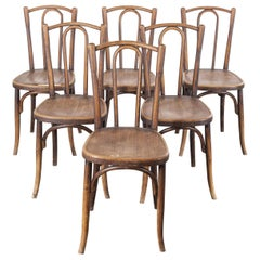 1920s Baumann Bentwood Bistro Dining Chair, Maison Rouget, Set of Six