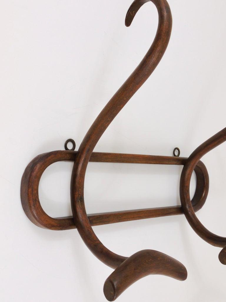 1920s Baumann France Art Nouveau Bentwood Wall Coat Rack with S Hooks For Sale 5