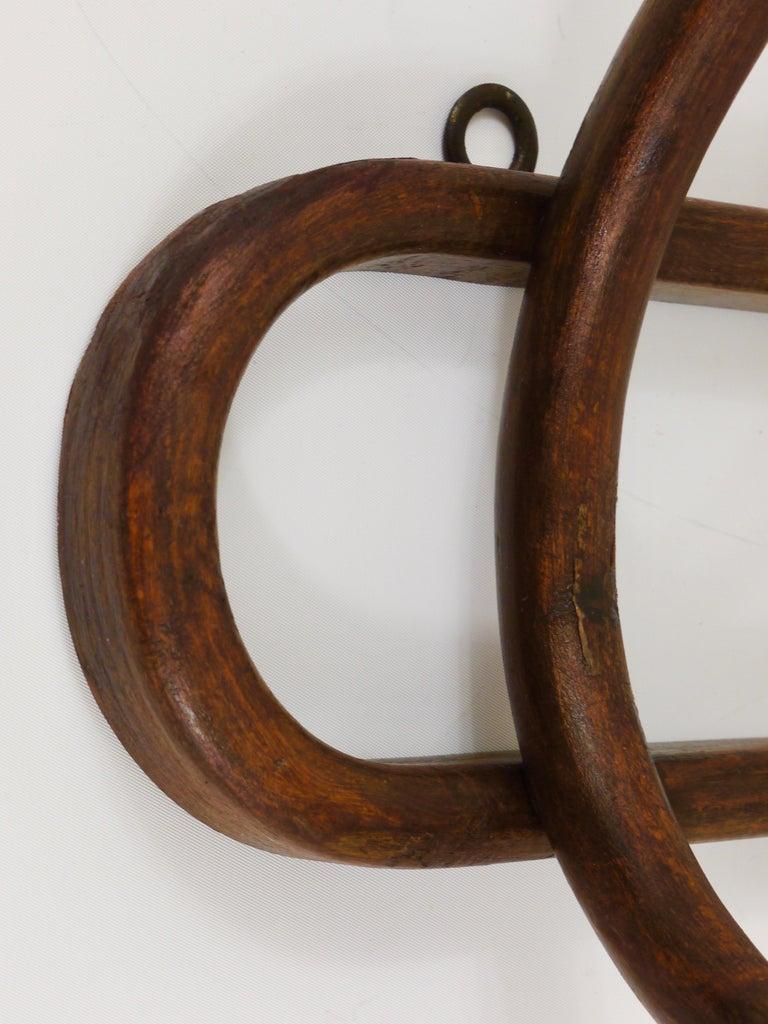 1920s Baumann France Art Nouveau Bentwood Wall Coat Rack with S Hooks For Sale 2