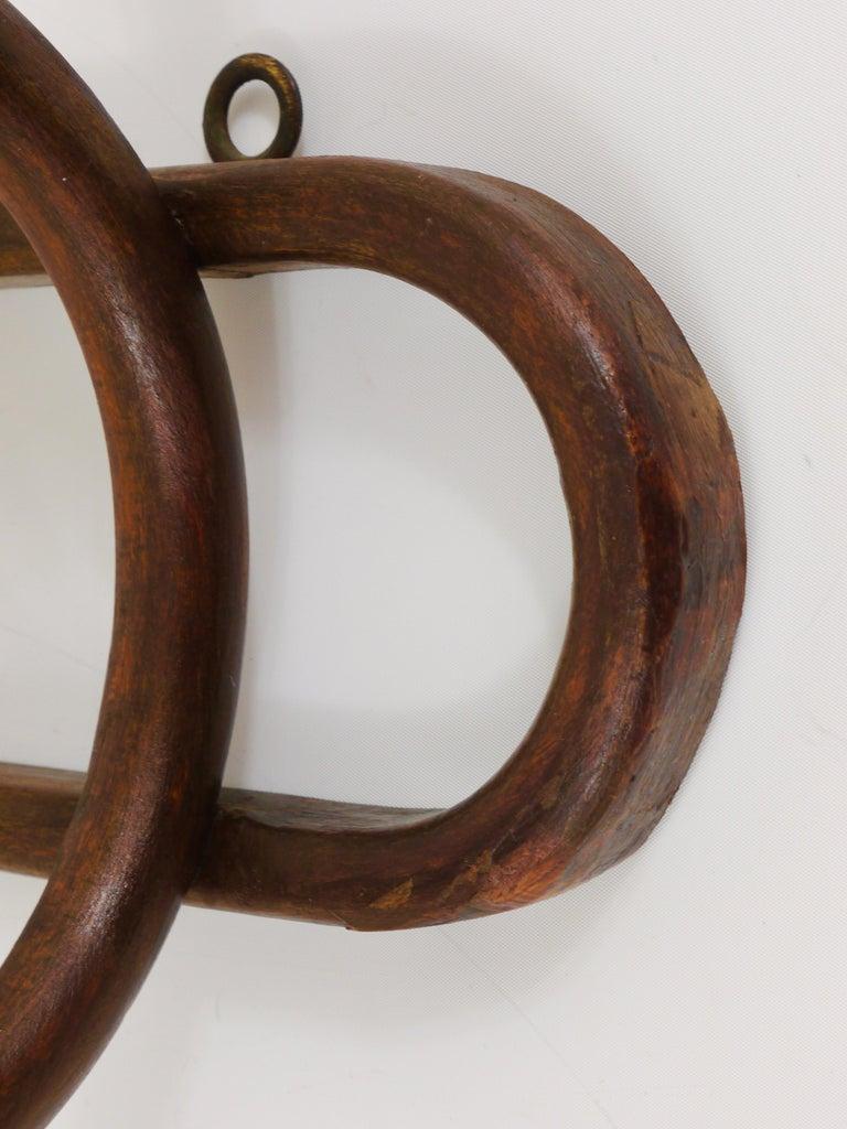 1920s Baumann France Art Nouveau Bentwood Wall Coat Rack with S Hooks For Sale 3