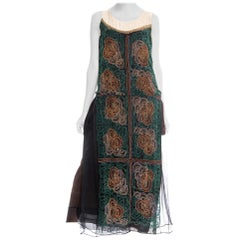 1920S Black Beaded Silk Chiffon Over Satin Cocktail Dress With Golden Art Deco