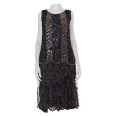 1920S  Black Hand Beaded Silk Net Art Deco Flapper Dress With Chevron Sequin De