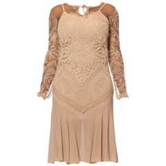 1920S Beige Handmade Lace & Silk Chiffon Dress With Long Sleeves