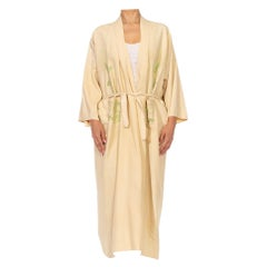 1920S Beige & Light Green Cotton Chinoiserie Dragon Embroidered  Kaftan