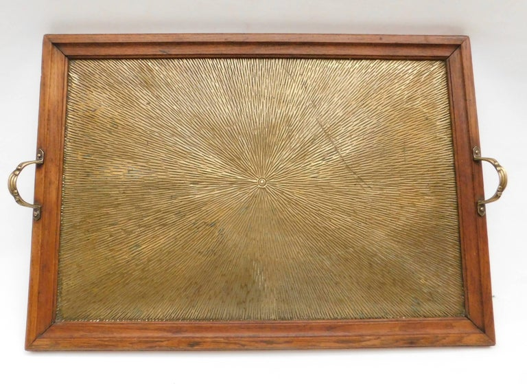 1920's Belgian Brass and Oak Art Deco Tray with Sunburst Design For Sale 1