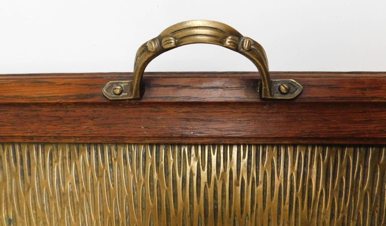 1920's Belgian Brass and Oak Art Deco Tray with Sunburst Design For Sale 4