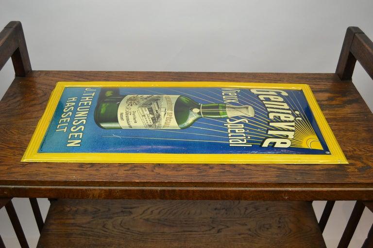 1920s Belgian Genever Tin Advertising Sign 14