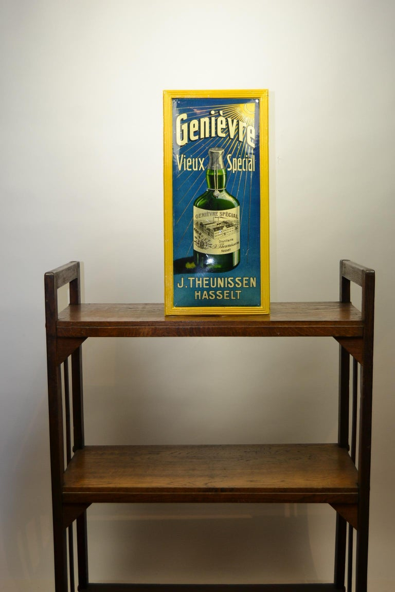1920s Belgian Genever Tin Advertising Sign 2
