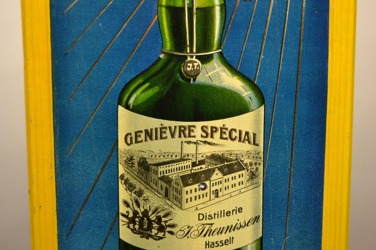 1920s Belgian Genever Tin Advertising Sign 5