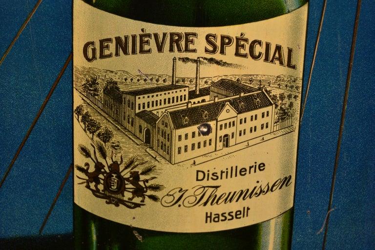 1920s Belgian Genever Tin Advertising Sign 6
