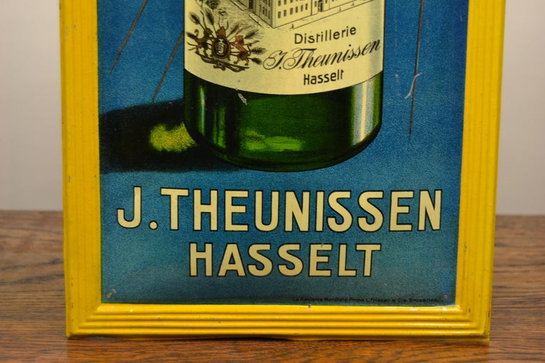 1920s Belgian Genever Tin Advertising Sign 7
