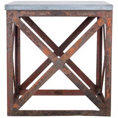 1920s Belgian Metal and Stone Side Table