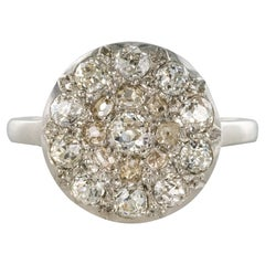 1920s Belle Époque Diamond 18 Karat White Gold Flat Round Ring
