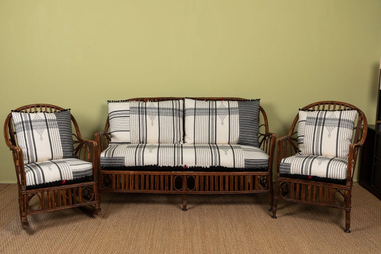 Classic East Coast Americana loveseat with cushions made of Injiri organic cotton textiles from India. Textile has areas of hand embroidery and hand tied tassels at edges. Part of a set with rocker and but can be purchased individually.