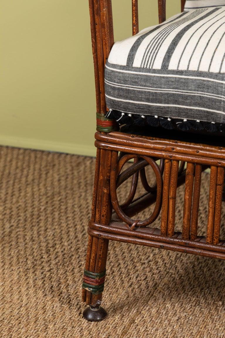 Adirondack 1920s Bent Wood Settee with Injiri Upholstery For Sale