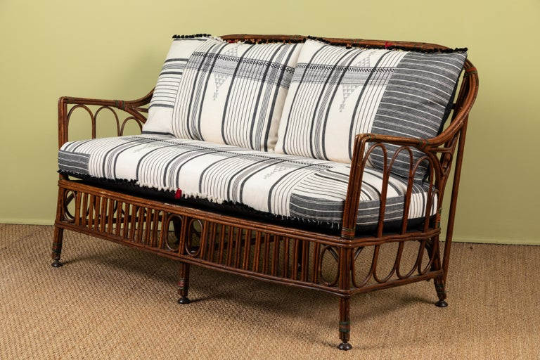 1920s Bent Wood Settee with Injiri Upholstery In Good Condition For Sale In Los Angeles, CA