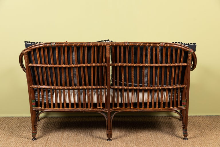 Early 20th Century 1920s Bent Wood Settee with Injiri Upholstery For Sale