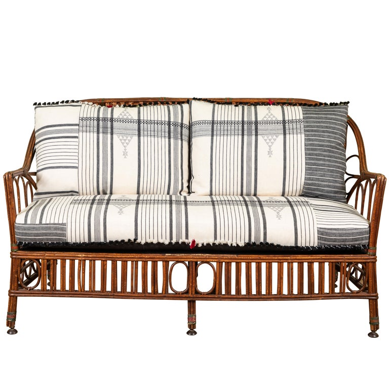 1920s Bent Wood Settee with Injiri Upholstery For Sale