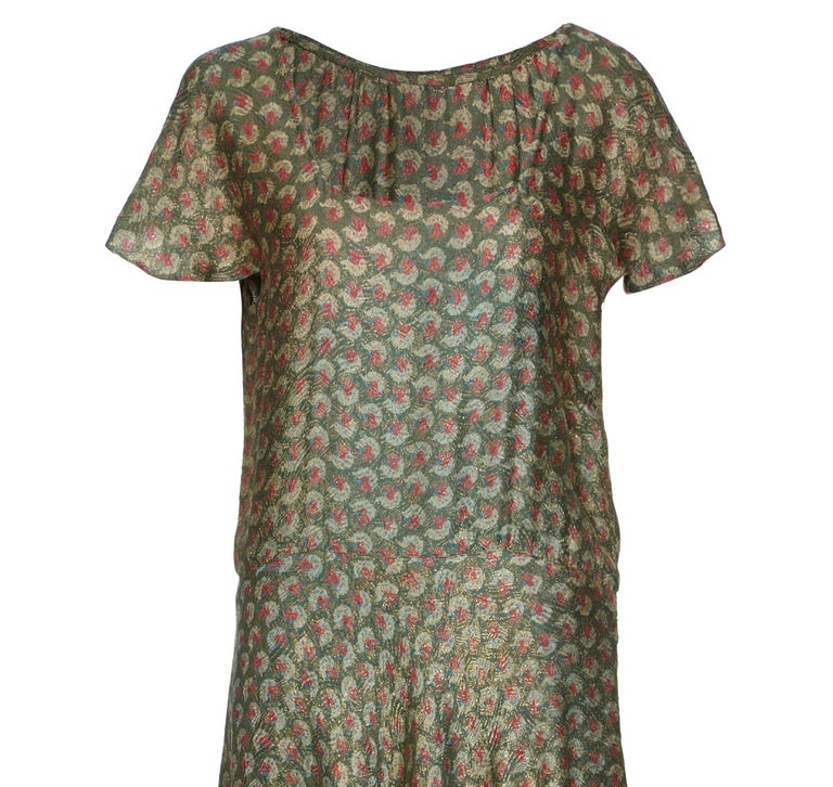 Brown 1920s Best and Co Green Lame Tiered Deco Print Dress  For Sale