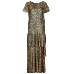 1920s Best and Co Green Lame Tiered Deco Print Dress
