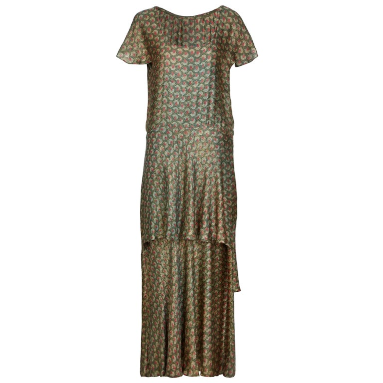 1920s Best and Co Green Lame Tiered Deco Print Dress  For Sale