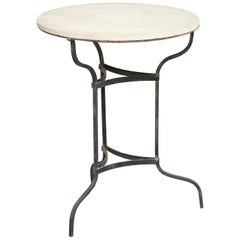 1920s Bistrot Metal and Marble French Table