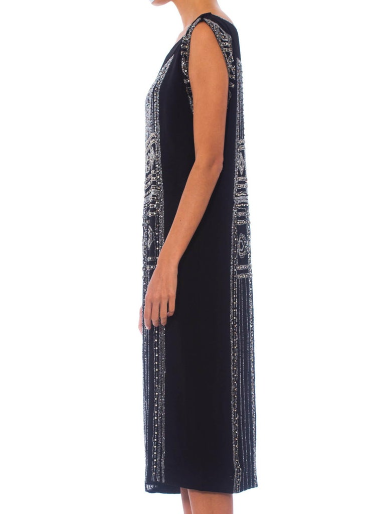 Women's 1920S Black Beaded Silk Cocktail Dress With Crystals For Sale