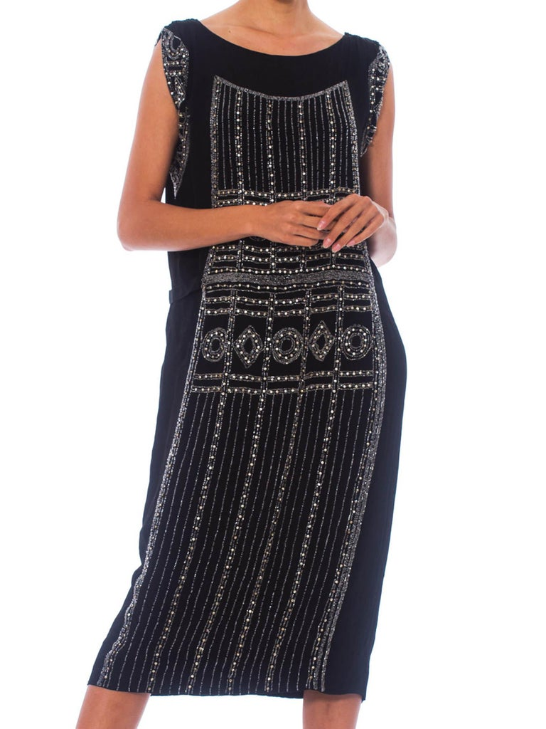 1920S Black Beaded Silk Cocktail Dress With Crystals For Sale 4