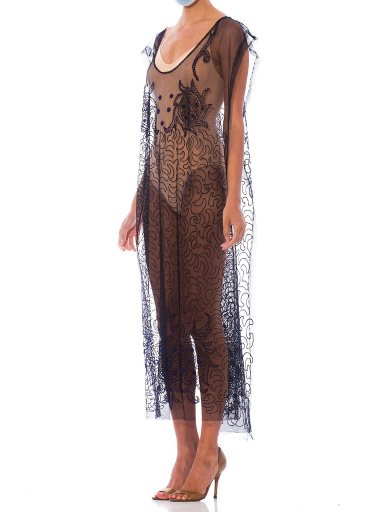 Women's 1920S Black Beaded Silk & Cotton Net One Size Tabard Cocktail Dress For Sale