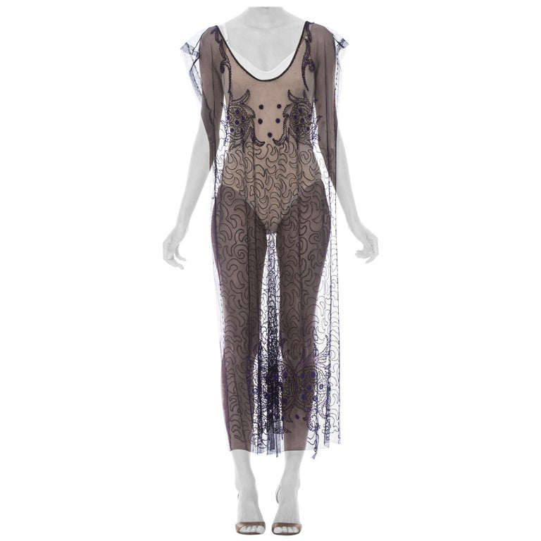 1920S Black Beaded Silk & Cotton Net One Size Tabard Cocktail Dress For Sale