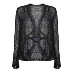 1920s Black Bugle Bead Muslin Cotton Jacket