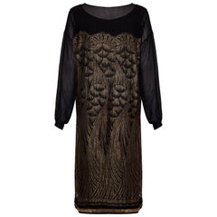 1920s Black Chiffon and Gold Lame Flapper Dress