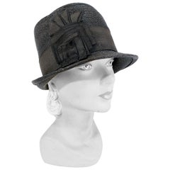 1920s Black Coated Woven Straw Day Cloche