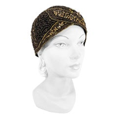 1920s Black Evening Cap with Lamé and Sequin