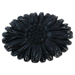 1920s Black Floral Mourning Brooch