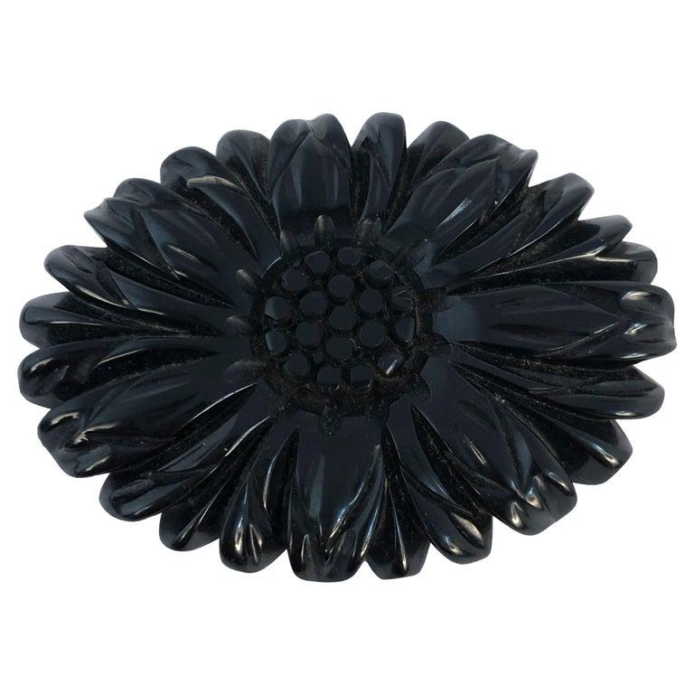 1920s Black Floral Mourning Brooch For Sale