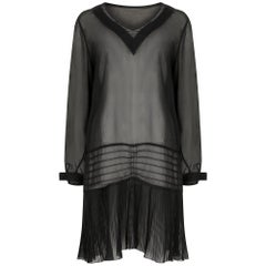 1920s Black Georgette Flapper Dress
