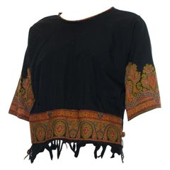 1920S Black Wool Top Made From Victorian Hand Woven Paisley Shawl