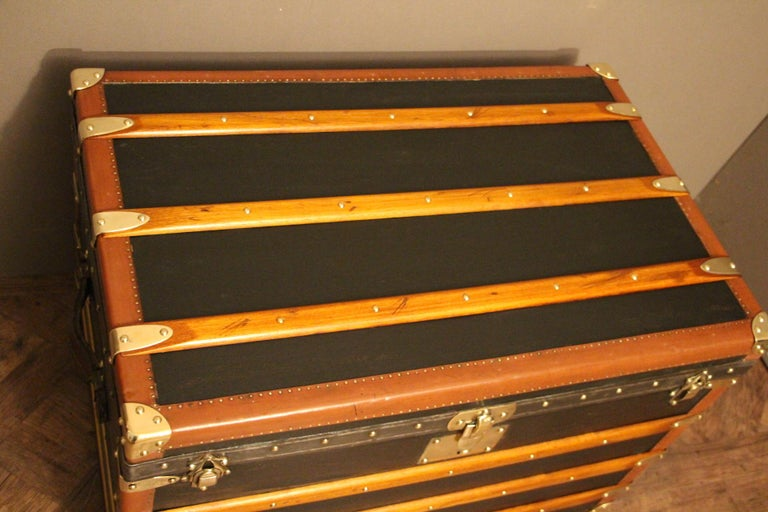 1920s Black Moynat Steamer Trunk In Good Condition For Sale In Saint-Ouen, FR