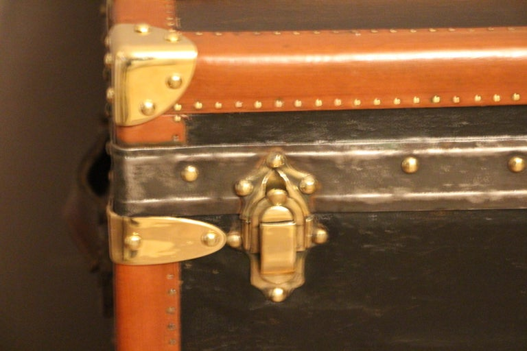 Early 20th Century 1920s Black Moynat Steamer Trunk For Sale