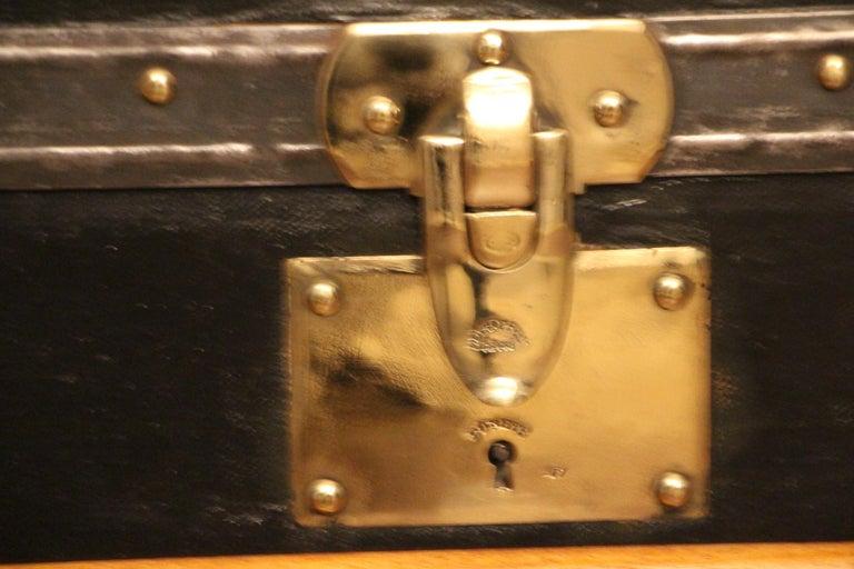 Brass 1920s Black Moynat Steamer Trunk For Sale