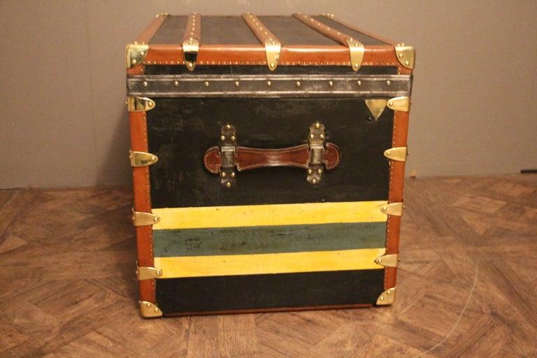 1920s Black Moynat Steamer Trunk For Sale 3