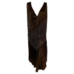 1920's Black on Black Beaded Silk Satin Flapper Evening Dress