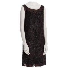 1920'S Black Silk Blend Chiffon Floral & Geometric Beaded  Cocktail Dress