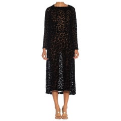 1920S Black Silk Burnout Velvet Long Sleeved Dress