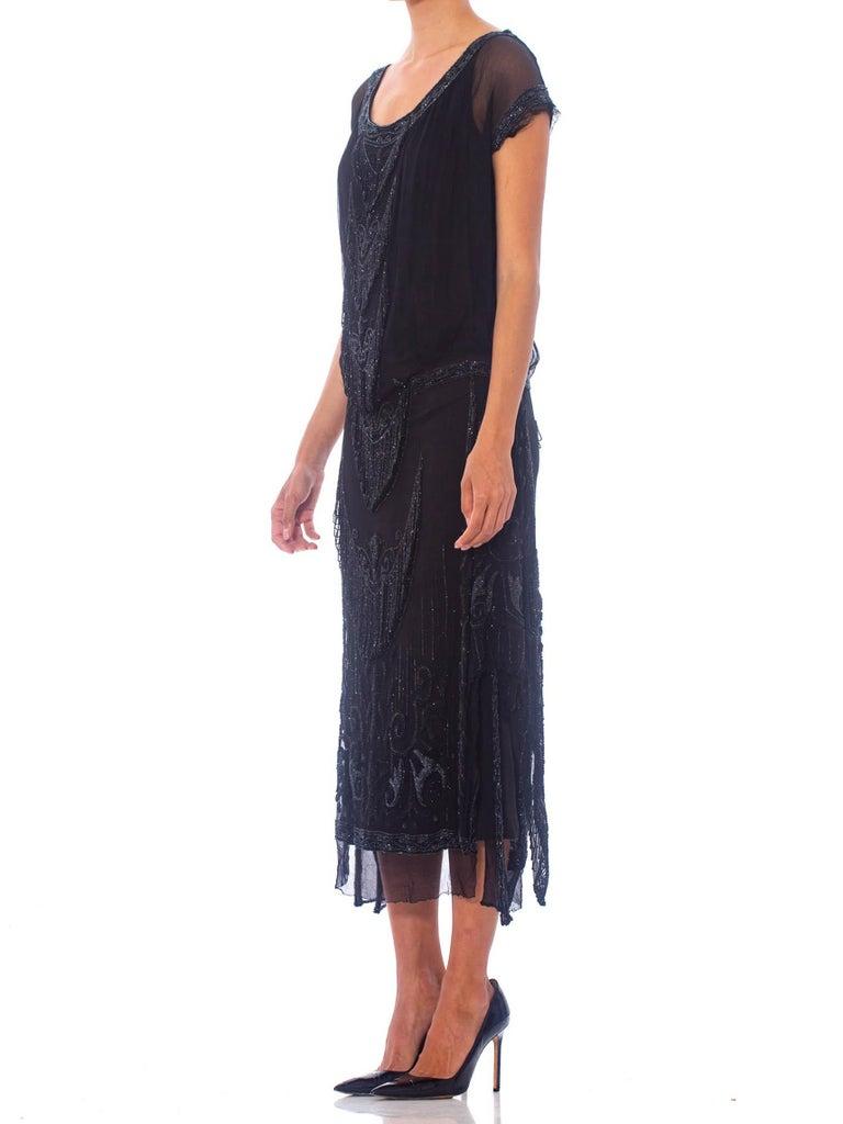 1920S Black Silk Chiffon Edwardian Style Paneled Cocktail Dress With Jet Beadin For Sale 6
