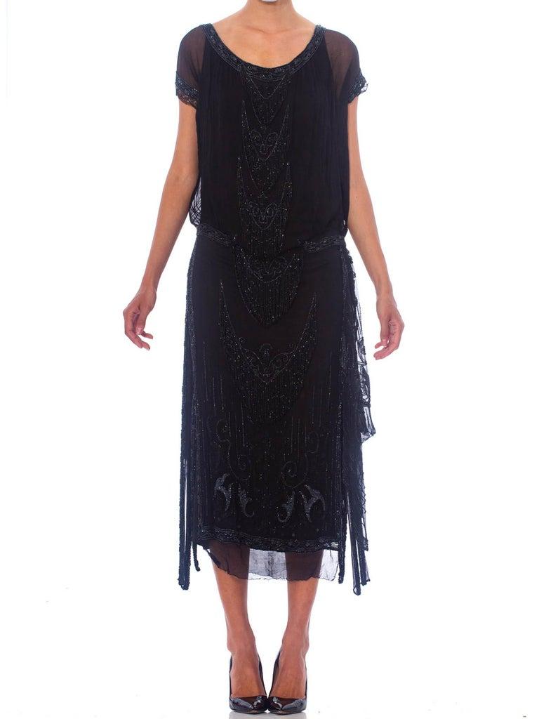 1920S Black Silk Chiffon Edwardian Style Paneled Cocktail Dress With Jet Beading And Fringe
